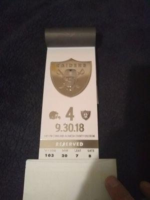 Oakland Raiders vs Cleveland Browns black hole ticket for Sale in Modesto, CA