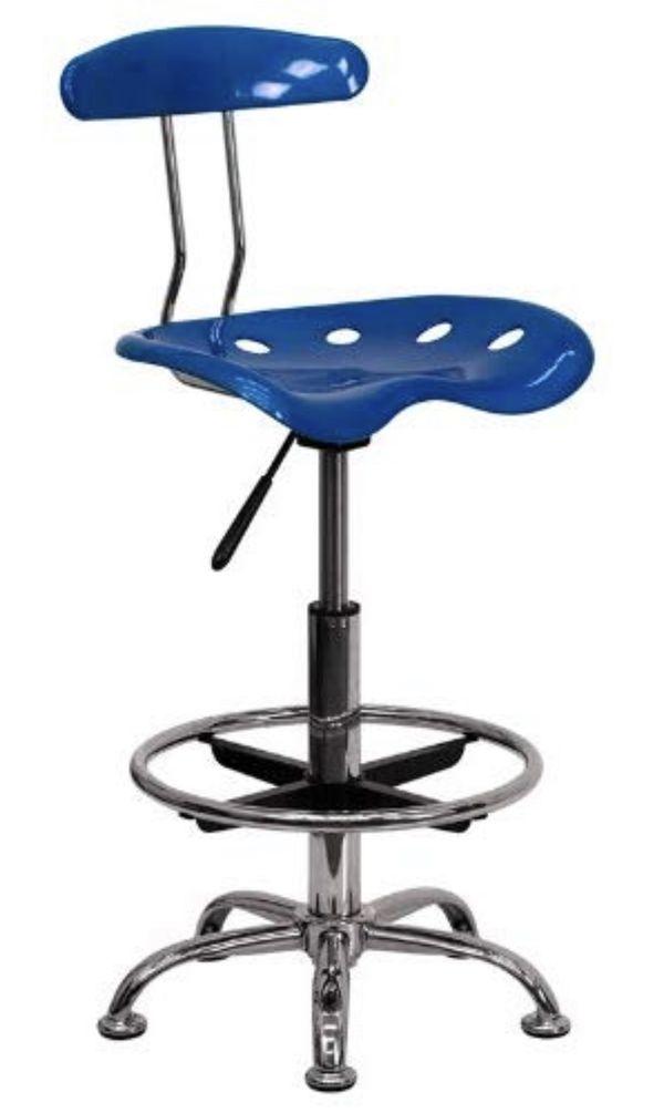 Chair (stool )Stainless steel, Bright blue /Silla taburete de dibujo con asiento de tractor Flash Furniture, Acero