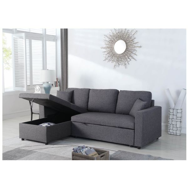 Linen Pull Out Sectional Sofa Bed In Gray Color
