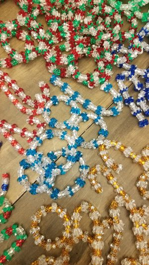 Christmas Vintage Hand Made Plastic Beaded Candy Canes & Wreaths Ornaments for Sale in Puyallup, WA