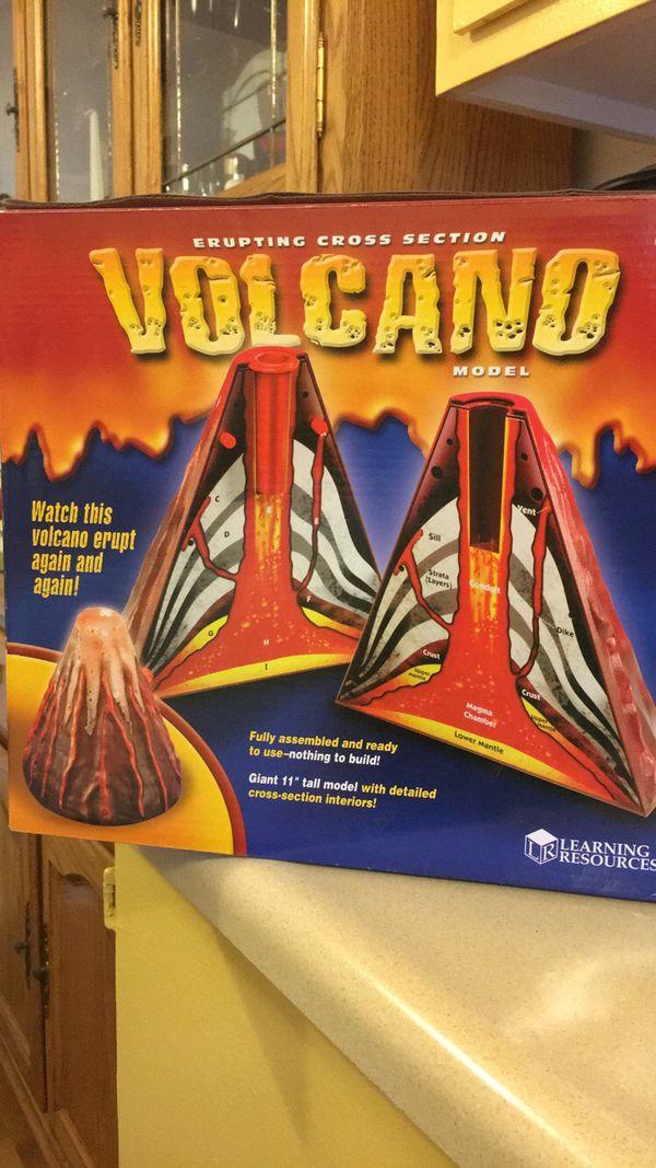 Erupting cross section volcano