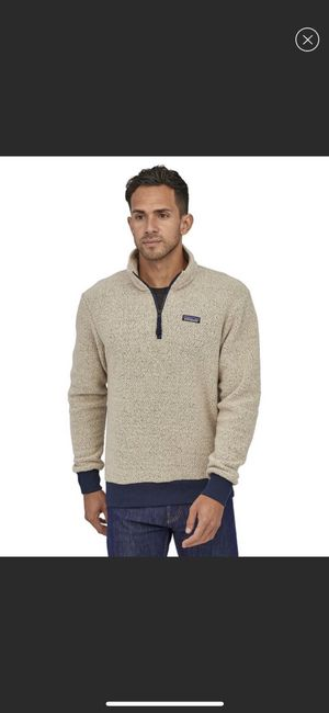 Patagonia Woolyester Fleece Pullover in Oatmeal Heather with Navy Trim for Sale in Bellevue, WA