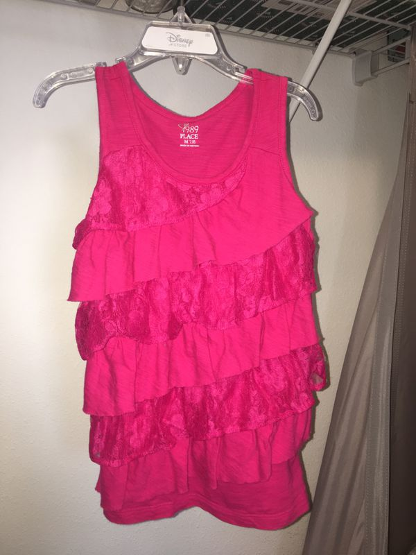 Children's Place pink lace tank top