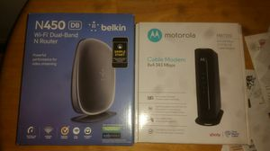 Motorola cable modem and Belkin Dual Band Router for Sale in North Randall, OH