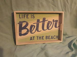 Beach themed wooden tray for Sale in Lewiston, ME