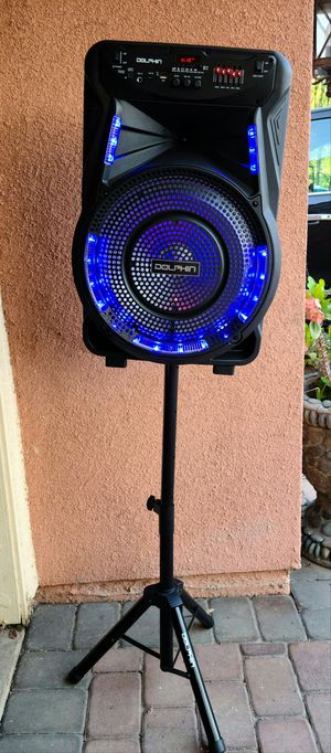 """New Dolphin 15"""" subwoofer rechargeable Trolley speaker Bluetooth, usb, sd card, fm radio, aux, microphone and stand for Sale in Riverside, CA"""