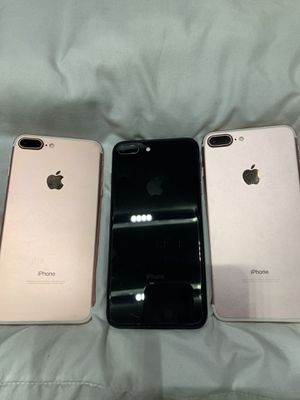 Two Rose Gold 7+ IPhones & One Space Gray 8+ iPhone, for Sale in St. Louis, MO