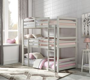 LIGHT GRAY FINISH TRIPLE TWIN SIZE BUNK BED / LITERA GRIS CAMA SENCILLA for Sale in Downey, CA
