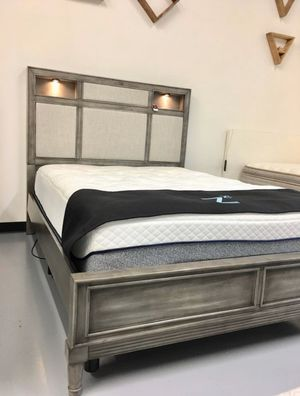 New Gray Wood + Gray Fabric Bed Frame : Queen / King / Cal King : Mattress Set Sold Separately - Box Spring Required for Sale in Vallejo, CA