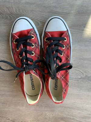 Red Converse Adorable plaid! Great condition woman size 5! Perfect Christmas Shoes! Only worn a few times near great condition! Barely worn! for Sale in Half Moon Bay, CA