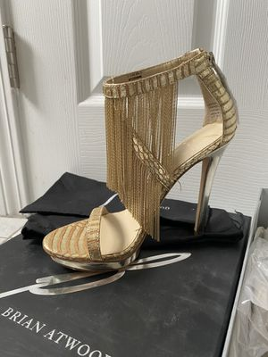 Orgi$425 ,new ! B Brian Atwood Sassiane Fringe Sandals gold 5.5 for Sale in Malden, MA