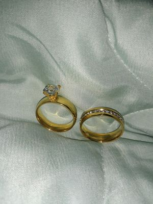 Set 2 Piece 18 K Gold Plated Simulant Diamond Engagement Ring Women's Size 9 & Men's Size 12. for Sale in Dallas, TX