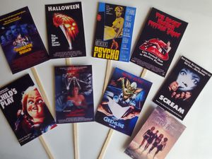 12 horror movie posters cupcake toppers party supplies chucky Halloween scream freddy Jason for Sale in McClusky, ND