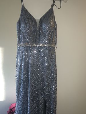 Girls sparkly prom dress (grey) with a slit for Sale in Stockton, CA