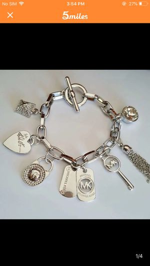 Mk Michael kors charm silver tone bracelet for Sale in Silver Spring, MD