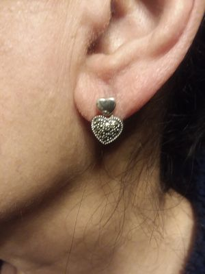 Sterling silver cute heart earrings for Sale in Chicago, IL