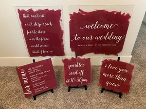 WEDDING DECOR: 5 Painted Acrylic Wedding Signs for Sale in Austin, TX