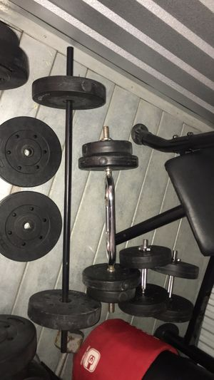 Weight bench set with dumbbells and curling bar and 2 bars with mma bag for Sale in Chicago, IL