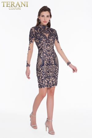 Gorgeous Terani Couture Navy/Nude Dress for Sale in Alexandria, VA