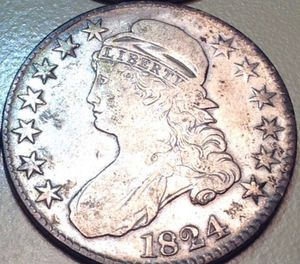 RARE Choice About Uncirculated 1824 Silver Capped Bust Half Dollar- Beautiful Strong White Mint Luster- High Value Coin! for Sale in Reston, VA
