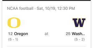 E1 Parking Pass Huskies v Oregon 10/19 for Sale in Snohomish, WA