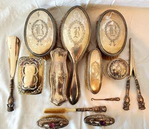 14 piece antique Sterling Silver dresser brush set for Sale in Long Beach, CA