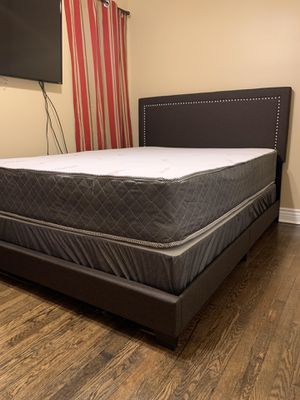 Brown Queen Bed Frame with Mattress Set!! Brand New Free Delivery for Sale in Chicago, IL
