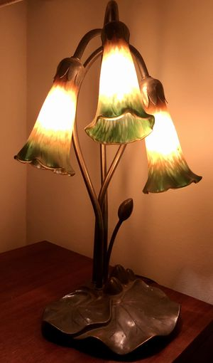 Vintage brass and glass 3 Lilly table lamp for Sale in Los Angeles, CA