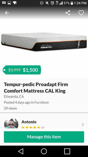 Tempur-pedic comfort mattres for Sale in Etiwanda, CA