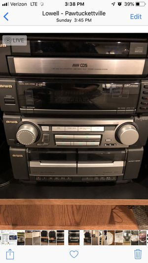Aiwa stereo system with speakers and stereo cabinet included for Sale in Lowell, MA