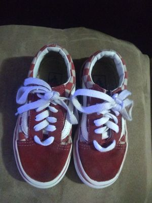Vans kids sz 11 red & white checked for Sale in Tulsa, OK