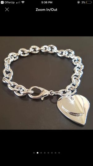 Sterling silver plated hearts bracelet bangle jewelry accessory for Sale in Silver Spring, MD