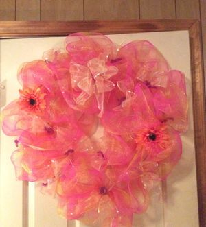 Spring Deco Mesh Wreath for Sale in Inwood, WV