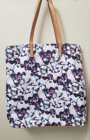 Banana Republic Lilac Floral Graphic Print Tote Bag, Canvas & Leather for Sale in Los Angeles, CA