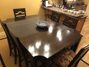 Cherry wood high dining table 6 reupholstered chairs for Sale in Bend, OR