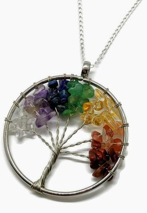Large sterling silver wire wrapped chakra tree of life necklace for Sale in San Tan Valley, AZ
