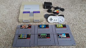 Super Nintendo System with 6 Games Mario Street Fighter Paperboy for Sale in Norton, MA