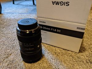 Like new Sigma 18-35 F 1.8 DC lens for Nikon for Sale in Beaverton, OR