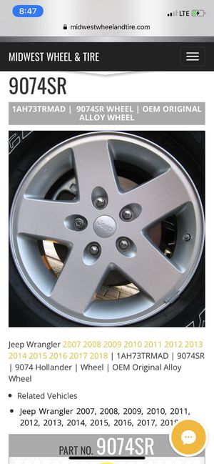 "Jeep Wrangler ""17""inch wheels for Sale in Fresno, CA"