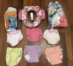 Girls potty training lot - Minnie Mouse potty seat - little swimmers swim diapers - training pants - GAP underwear for Sale in Mill Creek, WA