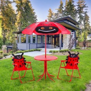 New Kids Ladybug Shaped Patio Folding Table and Chairs Set for Sale in Beverly Hills, CA
