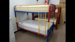 Multicolored metal twin twin bunk bed includes both twin size double sided mattress for Sale in Beltsville, MD