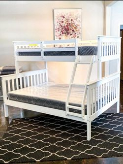 Twin Over Full White Bunk Bed & Brand New Plush Mattress Free Delivery for Sale in Dallas,  TX