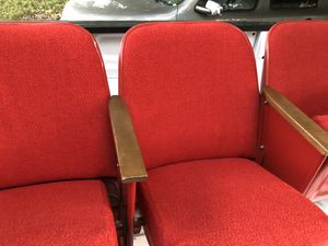 Red theater seats great for man cave hunting camp are at home for Sale in Sterling, KS
