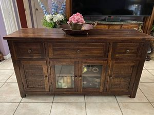 WOOD ENTRY FOYER MEDIA UNIT CONSOLE BUFFET TV STAND TABLE for Sale in Miami, FL