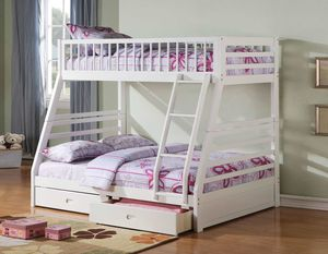 Twin/Full Bunk Bed AND Drawers - 37040 - White M5DO for Sale in Pomona, CA
