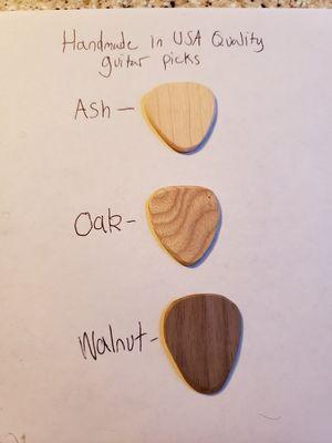 Handmade wooden guitar picks ash, oak and walnut for Sale in Stockbridge, GA