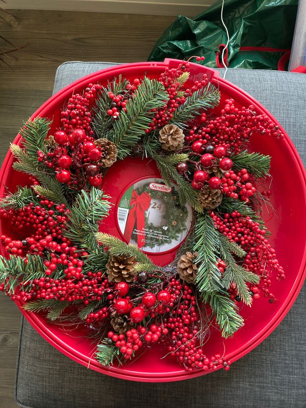 Christmas wreath and holder