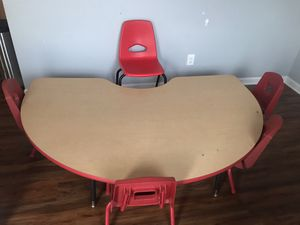 Large kids table w/8 chairs and teacher chair for Sale in Charlotte, NC