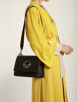 FENDI logo KAN I FF black handbag purse bag clutch gold silver $2500 for Sale in El Cajon, CA